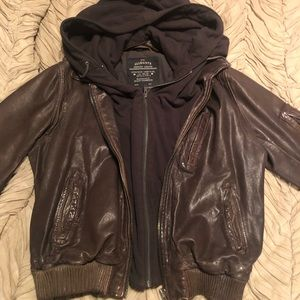 All Saints Brown Leather Bomber UK14-US 10